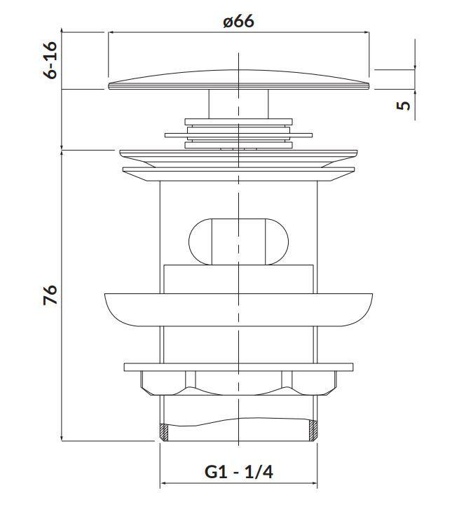 CERSANIT - Kovová zátka klik-klak pre umývadlá s prepadom, chróm (S951-125)