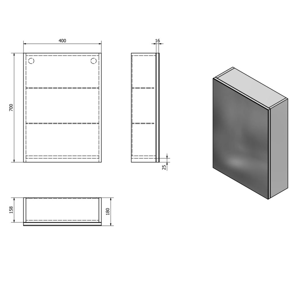 AQUALINE - VEGA galérka 40x70x18cm, biela (VG040)