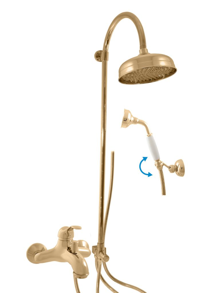 SLEZAK-RAV - Vodovodné batérie vaňová LABE s hlavovou a ručnou sprchou, Farba: zlato, Rozmer: 150 mm L054.5 / 3Z