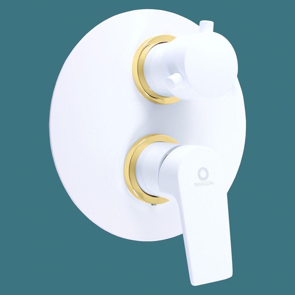 SLEZAK-RAV - Vodovodné batérie sprchová vstavaná COLORADO biela / zlato, Farba: biela / zlato (CO186KBZ)