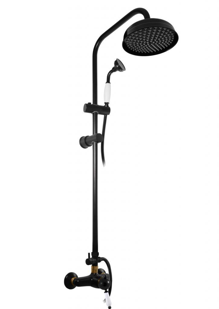 SLEZAK-RAV - Vodovodné batérie sprchová LABE s hlavovou a ručnou sprchou, Farba: čierna matná / zlato L581.5 / 3CMATZ