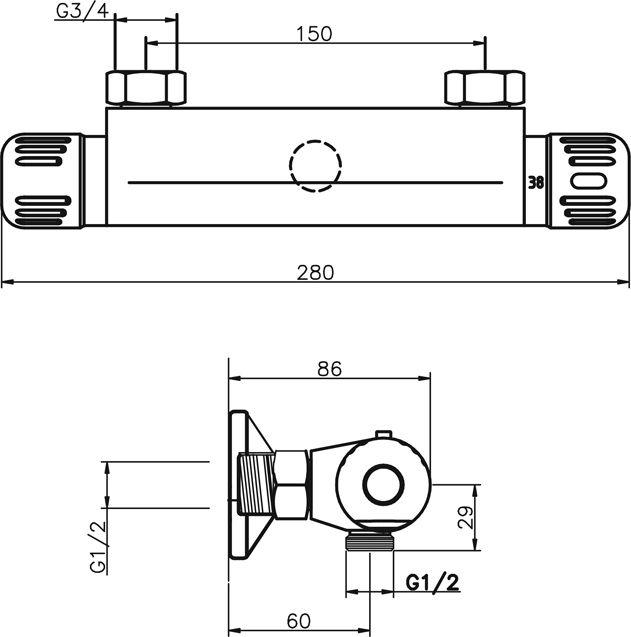 NOVASERVIS - Sprchová termostatická batéria 150 mm Aquamat chróm (2660/1,0)