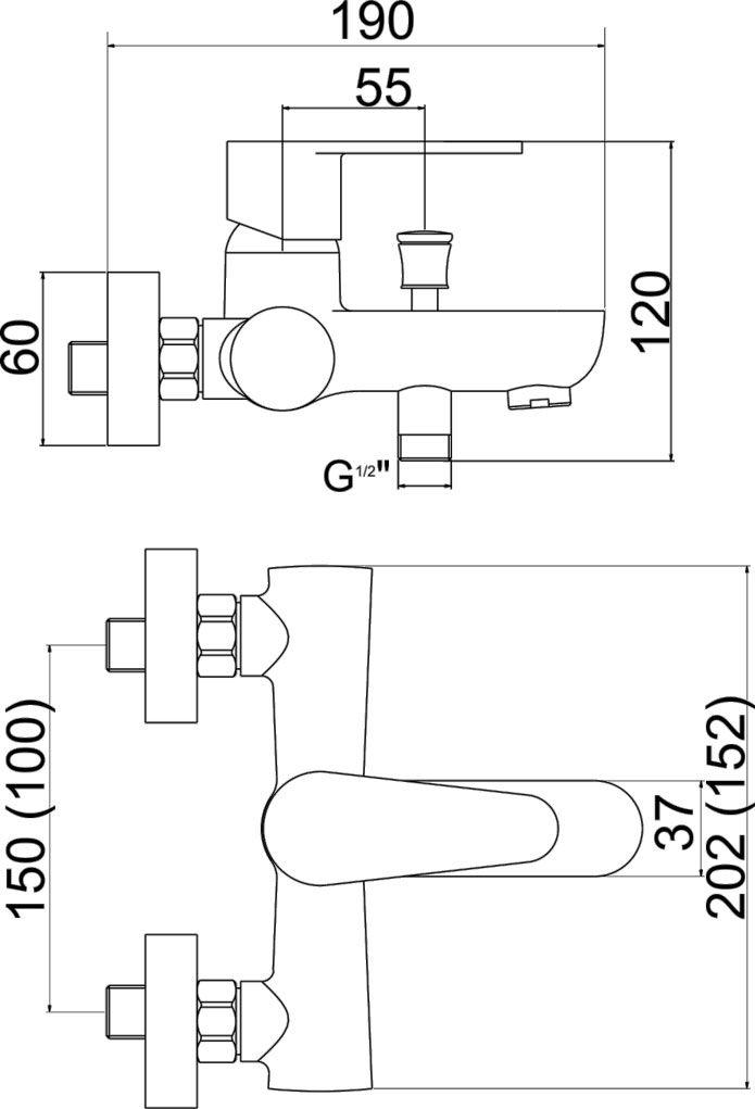 NOVASERVIS - Vaňová nástenná batéria bez sprchovej súpravy Fresh 150 mm (96020/1,0)