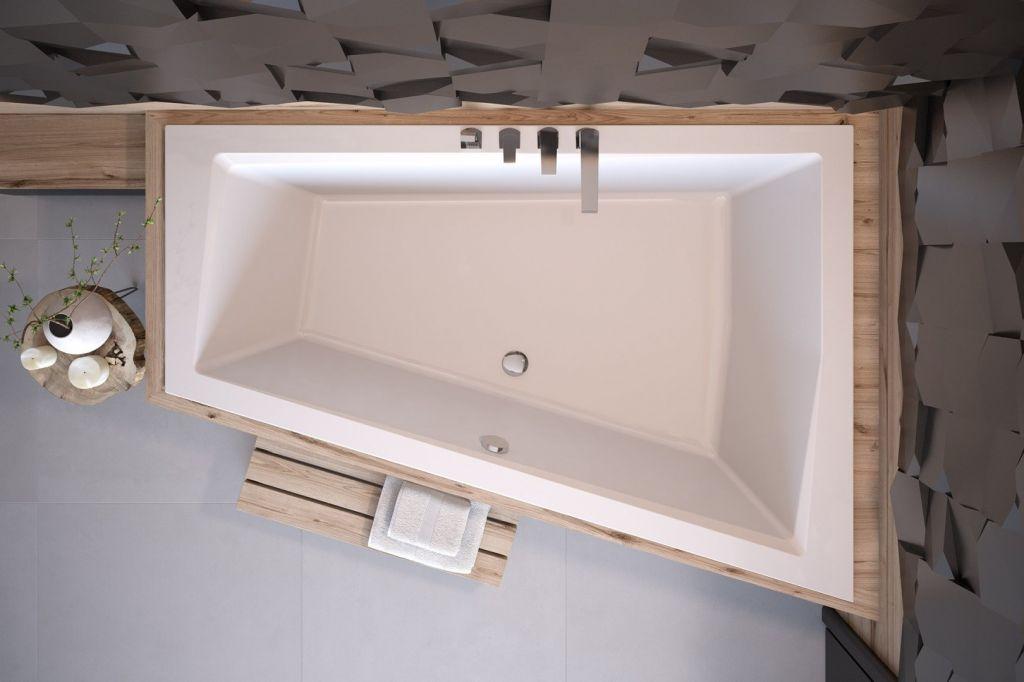 HOPA - Asymetrická vaňa INTIMA DUO SLIM - Nožičky k vani - Bez nožičiek, Rozmer vane - 180 × 125 cm, Spôsob prevedenia - Ľavé (VANINTID18SLIML)