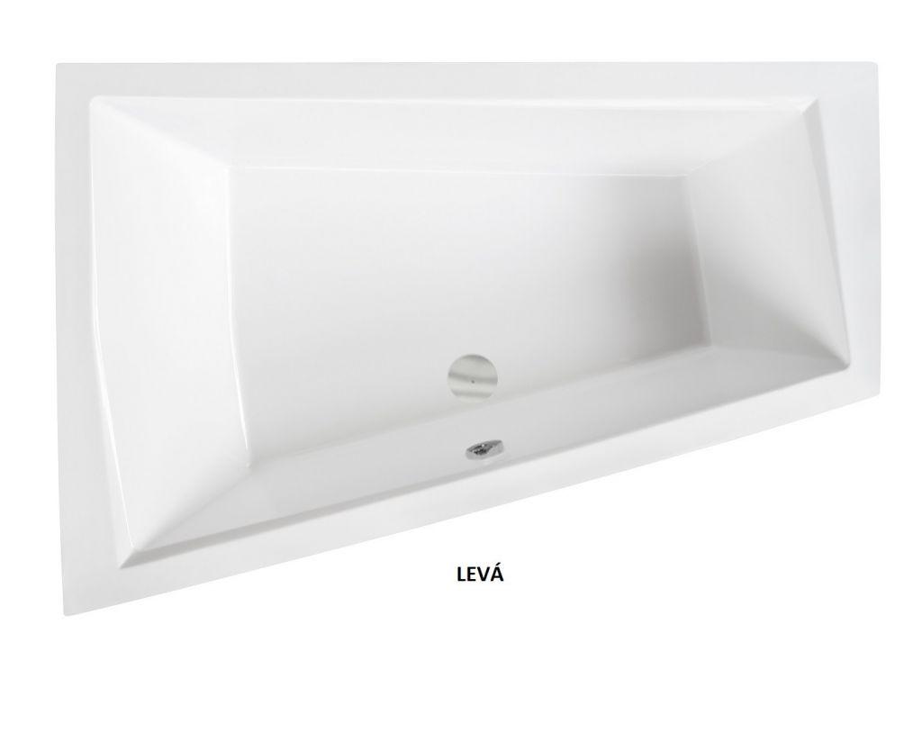 HOPA - Asymetrická vaňa INTIMA DUO SLIM - Nožičky k vani - Bez nožičiek, Rozmer vane - 180 × 125 cm, Spôsob prevedenia - Pravé (VANINTID18SLIMP)