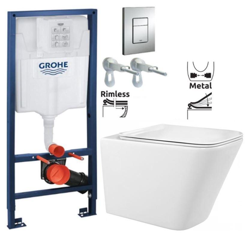 Rapid SL pre závesné WC 38528SET s chrómovou doskou + WC REA Raul Rimless + SEDADLO 38772001 RA1