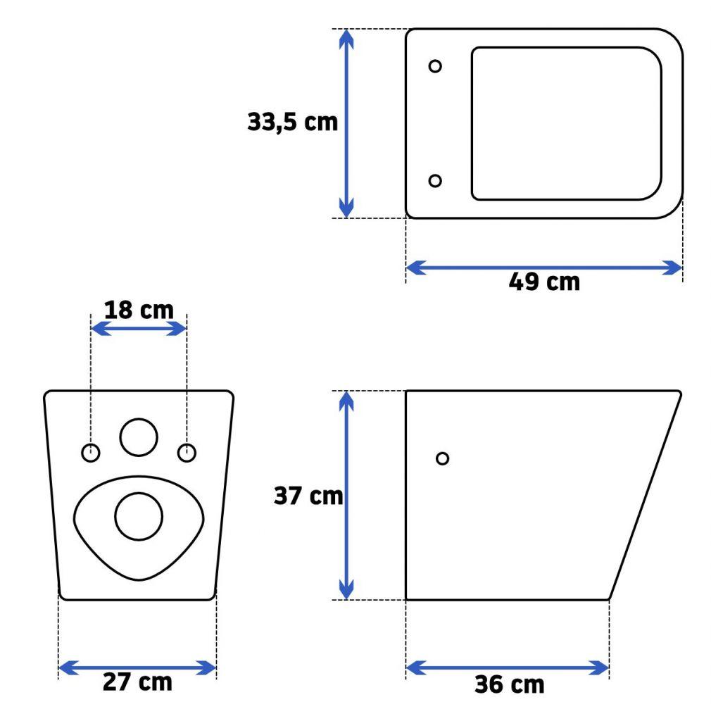 ALCAPLAST Sádromodul - predstenový inštalačný systém s chrómovým tlačidlom M1721 + WC REA Raul Rimless + SEDADLO (AM101/1120 M1721 RA1)