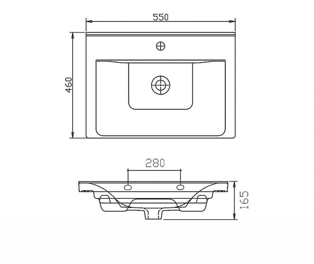 AQUALINE - SAVA 55 nábytkové umývadlo 55x46x16,5 cm (2055)