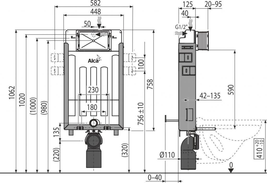ALCAPLAST  Renovmodul - predstenový inštalačný systém s bielym tlačidlom M1710 + WC REA Raul Rimless + SEDADLO (AM115/1000 M1710 RA1)