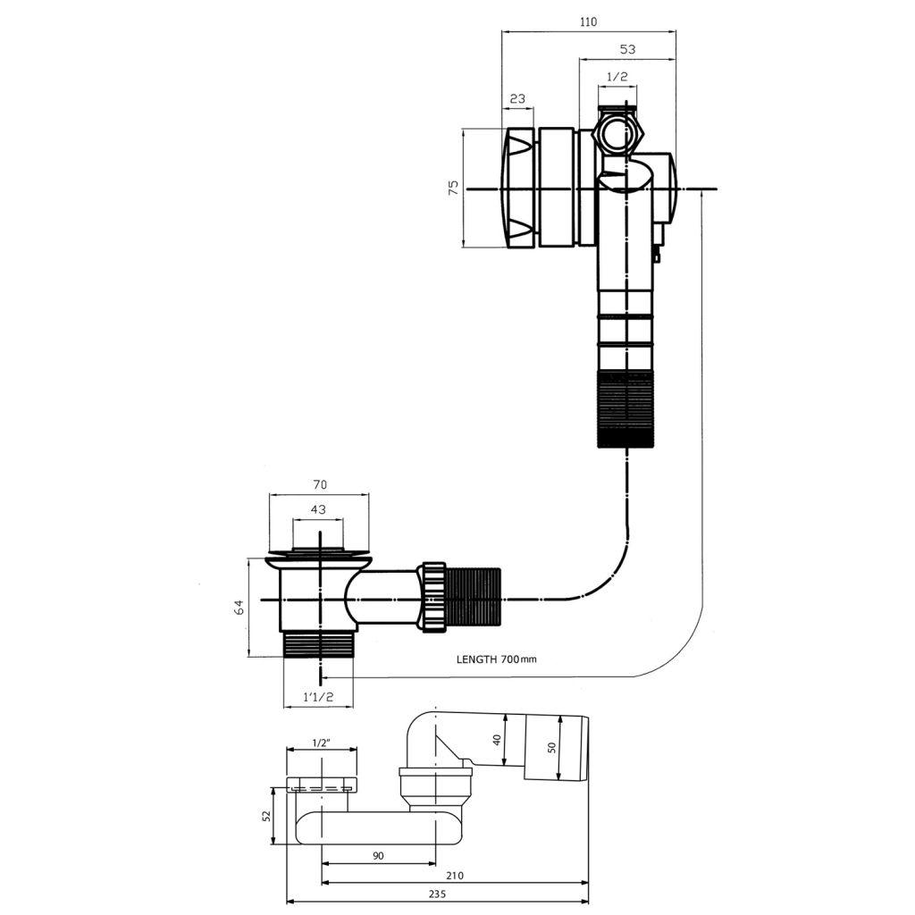 Bruckner - Vaňová súprava s napuštěním, bovden, dĺžka 700mm, zátka 72mm, chróm (164.270.1)