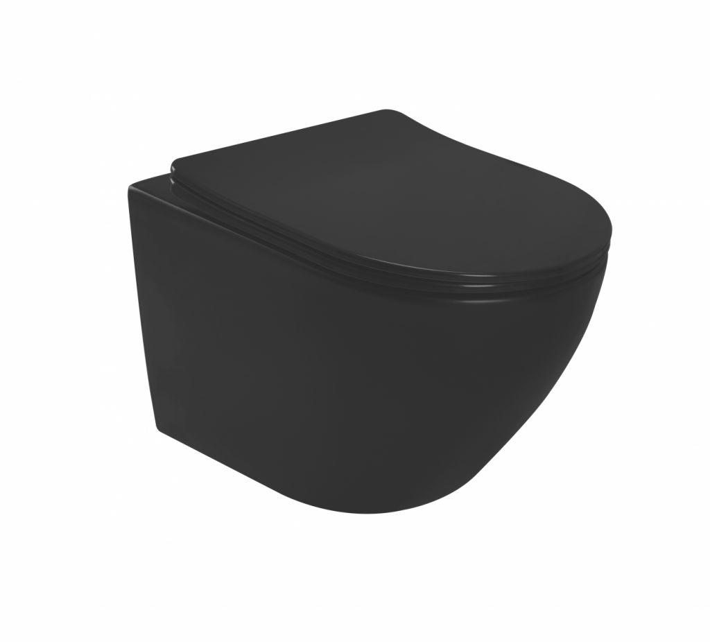 ALCAPLAST  Sádromodul - predstenový inštalačný systém s bielym tlačidlom M1710 + WC REA CARLO MINI RIMLESS ČIERNY MAT + SEDADLO (AM101/1120 M1710 MM1)