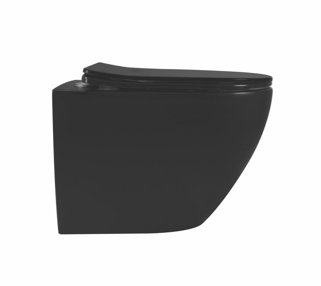 ALCAPLAST Sádromodul - predstenový inštalačný systém s chrómovým tlačidlom M1721 + WC REA CARLO MINI RIMLESS ČIERNY MAT + SEDADLO (AM101/1120 M1721 MM1)