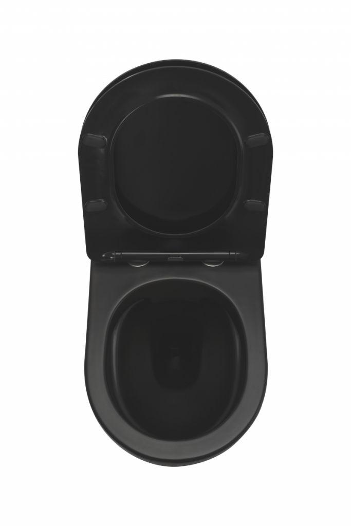 ALCAPLAST  Renovmodul - predstenový inštalačný systém s bielym tlačidlom M1710 + WC REA CARLO MINI RIMLESS ČIERNY MAT + SEDADLO (AM115/1000 M1710 MM1)