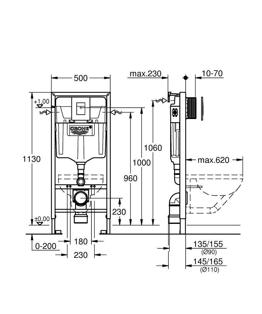 Rapid SL pre závesné WC 38528SET s chrómovou doskou + WC REA Ivo Rimless + SEDADLO (38772001 IV1)