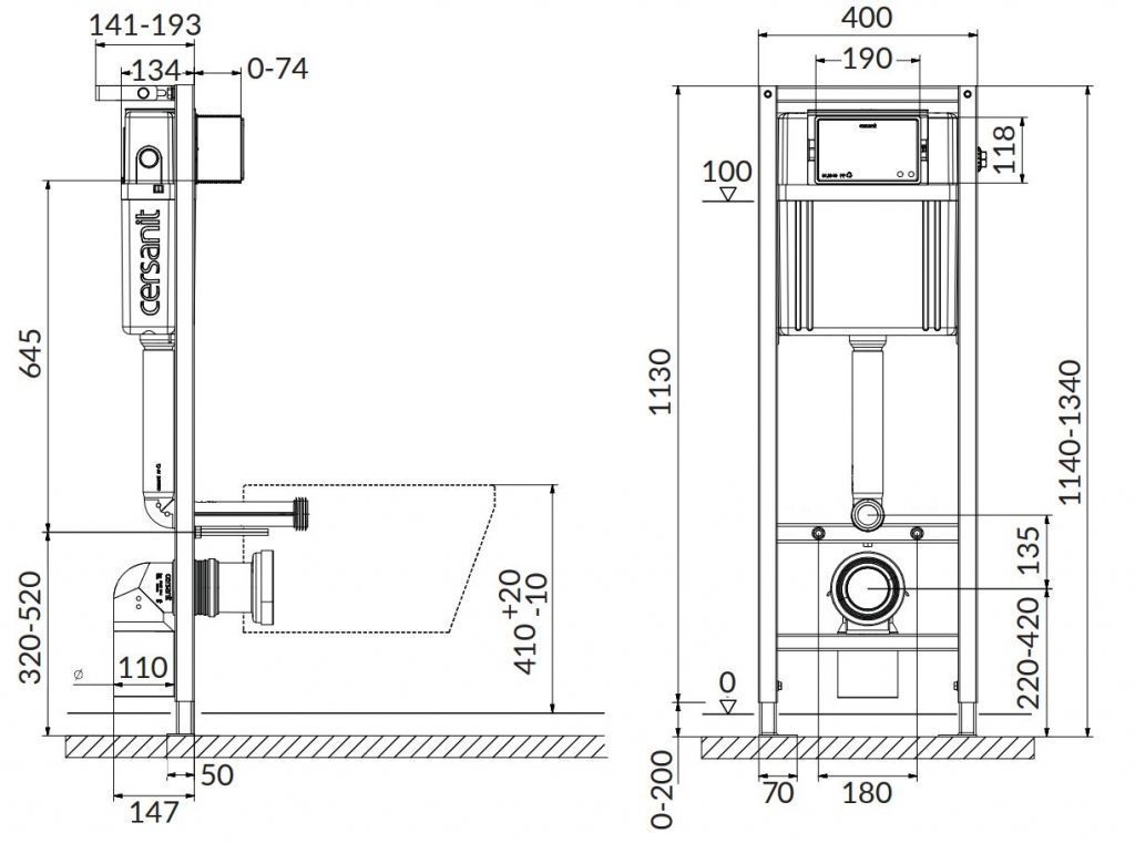 CERSANIT nádržka AQUA 02 bez tlačidla + WC REA Ivo Rimless + SEDADLO (S97-063 IV1)