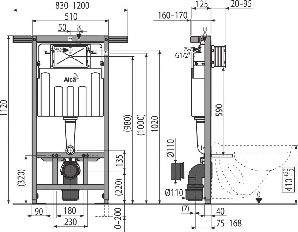ALCAPLAST  Jádromodul - predstenový inštalačný systém s bielym tlačidlom M1710 + WC REA Carlo Flat Mini Rimlesss + SEDADLO (AM102/1120 M1710 CF1)