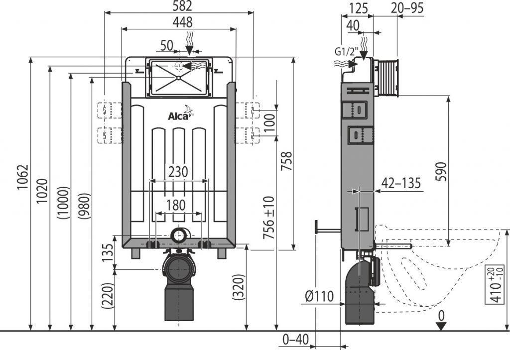 ALCAPLAST  Renovmodul - predstenový inštalačný systém s bielym / chróm tlačidlom M1720-1 + WC REA Carlo Flat Mini Rimlesss + SEDADLO (AM115/1000 M1720-1 CF1)