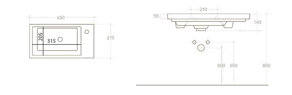 AQUALINE - ZORAN nábytkové umývadlo 45x27, 5 cm (4045)
