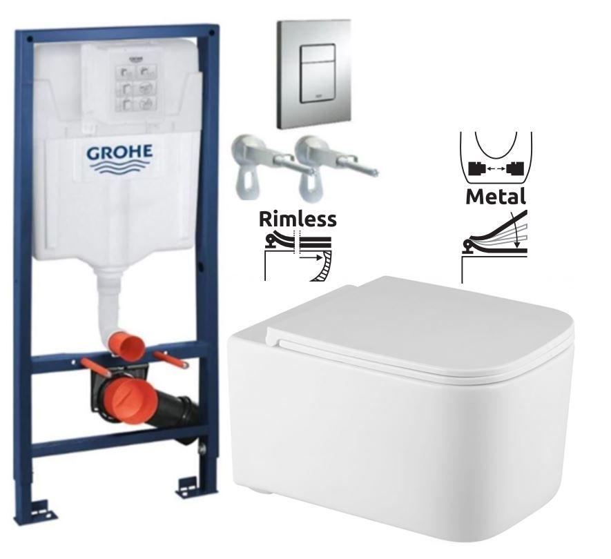 Rapid SL pre závesné WC 38528SET s chrómovou doskou + WC REA Tino Rimlesss + SEDADLO 38772001 TR1