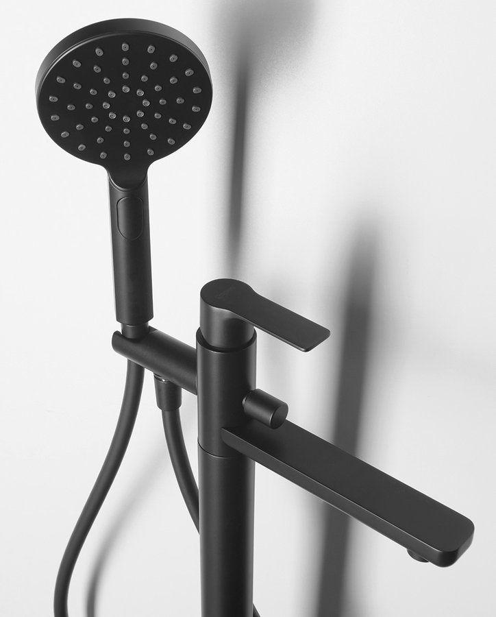 SAPHO - PAX vaňová batéria s pripojením do podlahy, čierna matná (XA21/15)