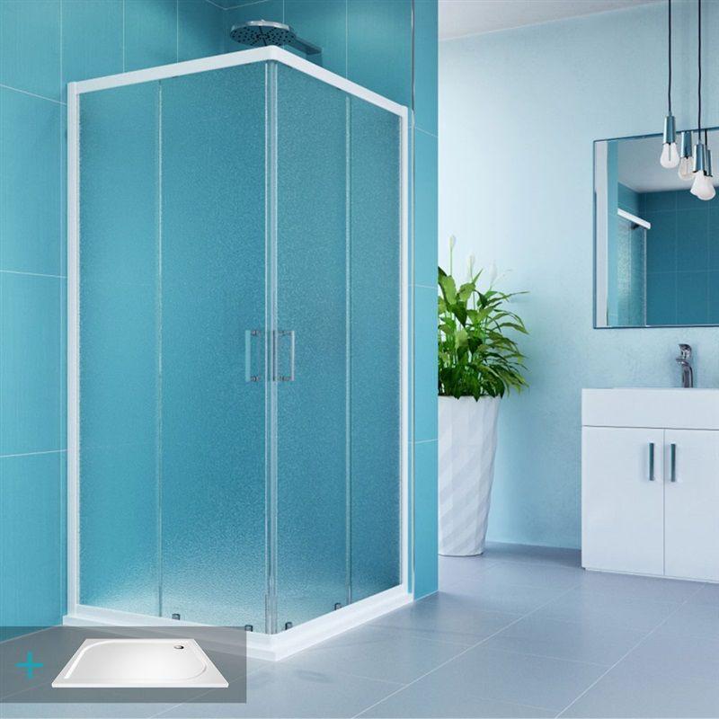 MEREO MEREO - Kora sprchový set: obdĺžnikový kút 90x80 cm, vanička, sifón CK34121ZM