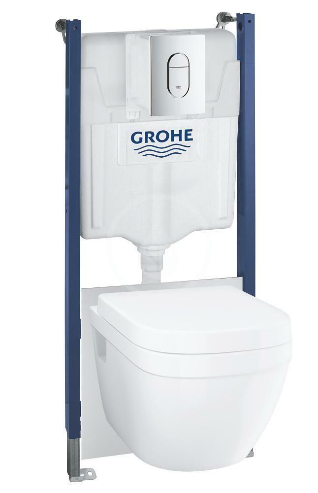 GROHE - Solido Súprava na závesné WC + klozet a doska softclose, rimless, tlačidlo Arena Cosmopolitan, chróm 39700000