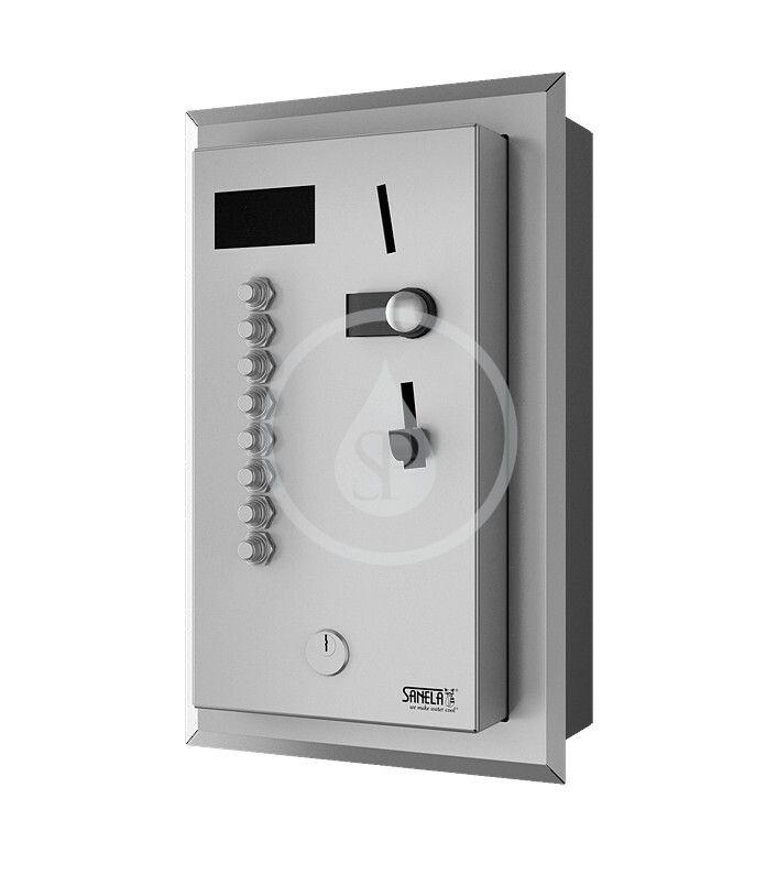 SANELA - Automaty Vestavný mincovní automat pro 4-8 sprch, interaktivní ovládání, antivandal, matný nerez SLZA 02LNZ