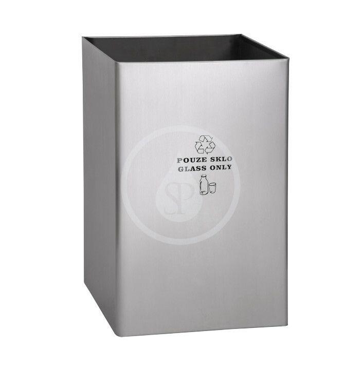 SANELA SANELA - Nerezové odpadkové koše Odpadkový koš 67 l, na sklo, matný nerez SLZN 49AC