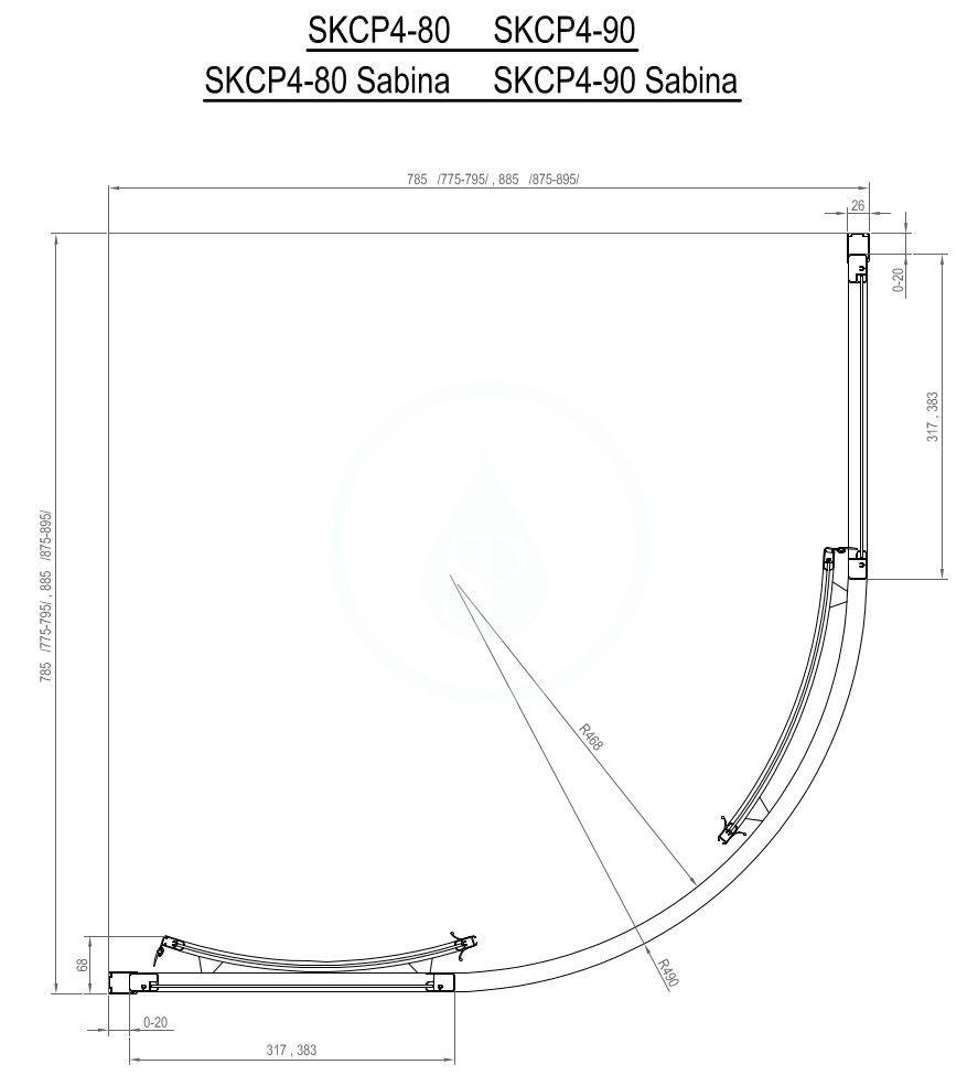 RAVAK - Supernova Štvrťkruhový sprchový kút štvordielny SKCP4-80, 775-795 mm, čierna/Pearl (3114O30211)