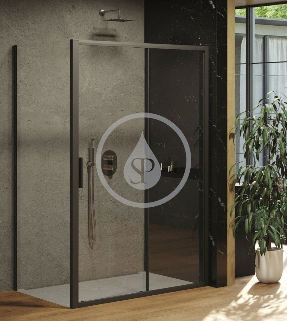 RAVAK - Blix Sprchové dvere Slim BLSDP2-100, 977-1005 mm, čierna/číre sklo (X0PMA0300Z1)