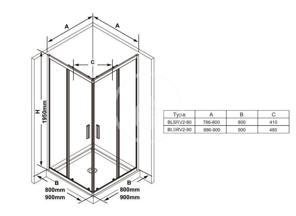RAVAK - Blix Sprchový kút Slim BLSRV2-90, 900x900 mm, čierna/číre sklo (X1LM70300Z1)