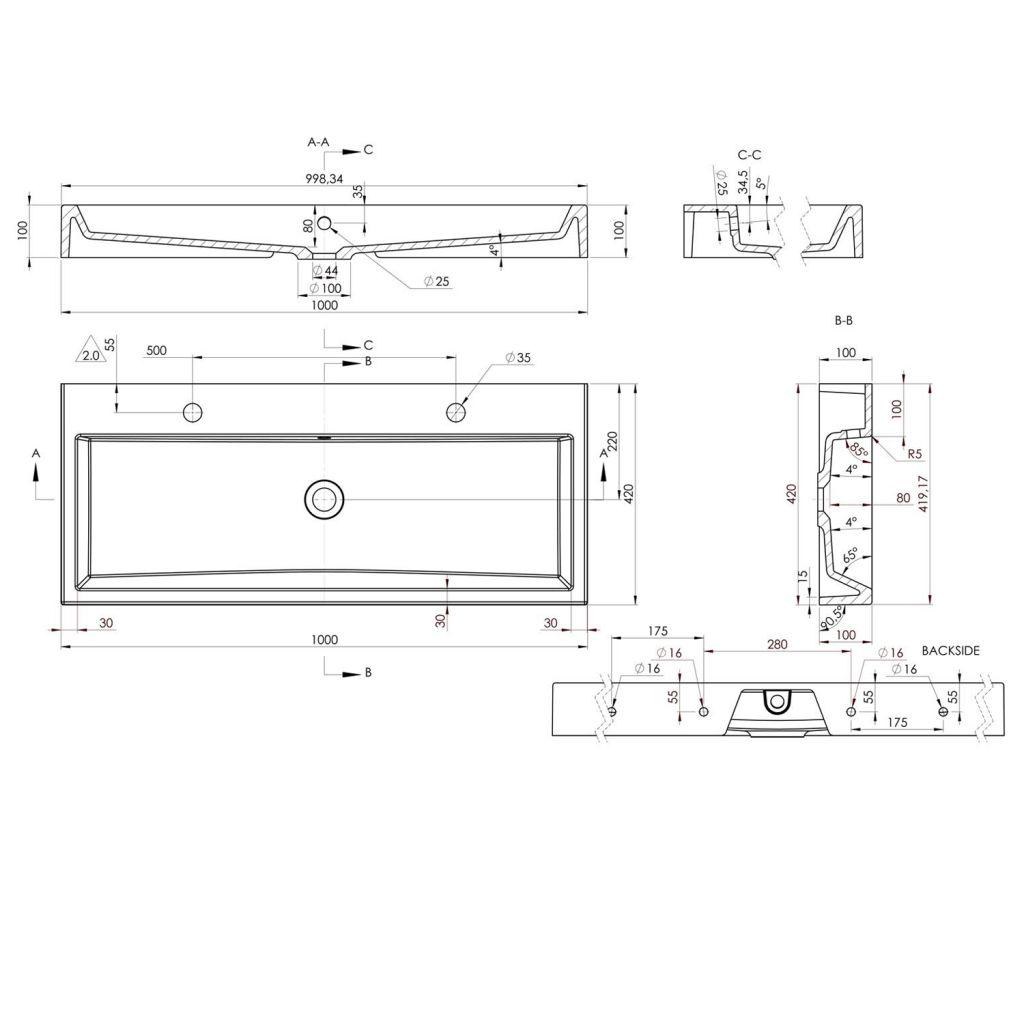 SAPHO - ORINOKO umývadlo 100x42cm, 2 otvory pre batériu, liaty mramor, biela (OR101)