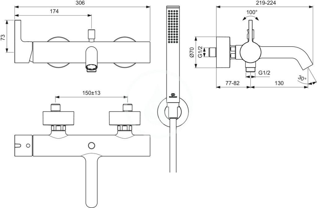 IDEAL STANDARD - Joy Vaňová batéria s príslušenstvom, Silver Storm (BC787GN)