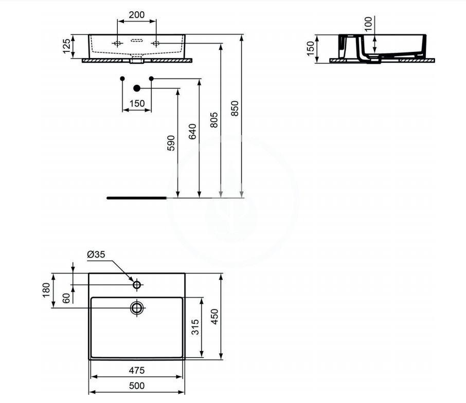 IDEAL STANDARD - Extra Umývadlo 500x450 mm, s prepadom, otvor na batériu, biela (T372601)