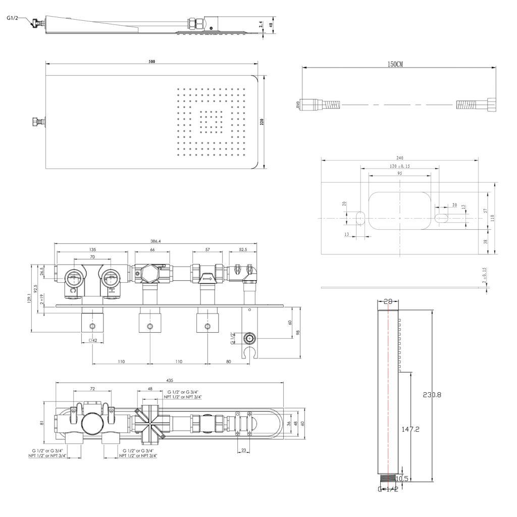 SAPHO - Podomietkový sprchový set s termostatickou batériou a držiakom ručnej sprchy, 2 výstupy, hranatá, chróm (MB453-01)
