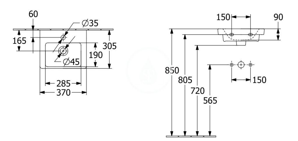 VILLEROY & BOCH - Subway 3.0 Umývadielko nábytkové 370x305 mm, s prepadom, otvor na batériu, alpská biela (43703701)