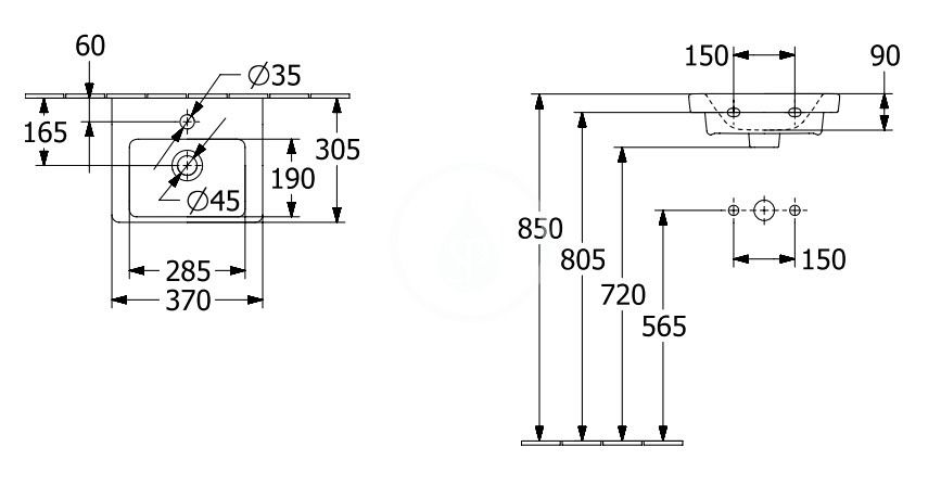 VILLEROY & BOCH - Subway 3.0 Umývadielko nábytkové 370x305 mm, s prepadom, otvor na batériu, CeramicPlus, alpská biela (437037R1)