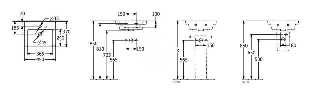 VILLEROY & BOCH - Subway 3.0 Umývadielko nábytkové 450x370 mm, s prepadom, otvor na batériu, alpská biela (4370FK01)