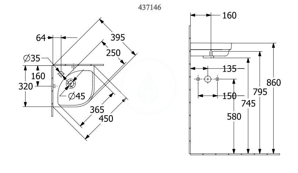 VILLEROY & BOCH - Subway 3.0 Umývadielko rohové 320x320 mm, bez prepadu, otvor na batériu, CeramicPlus, alpská biela (437146R1)