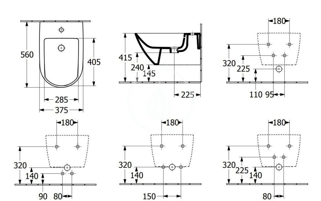 VILLEROY & BOCH - Subway 3.0 Závesný bidet 560x375 mm, s prepadom, otvor na batériu, CeramicPlus, alpská biela (447000R1)