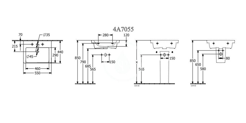 VILLEROY & BOCH - Subway 3.0 Umývadlo 550x440 mm, s prepadom, otvor na batériu, CeramicPlus, alpská biela (4A7055R1)