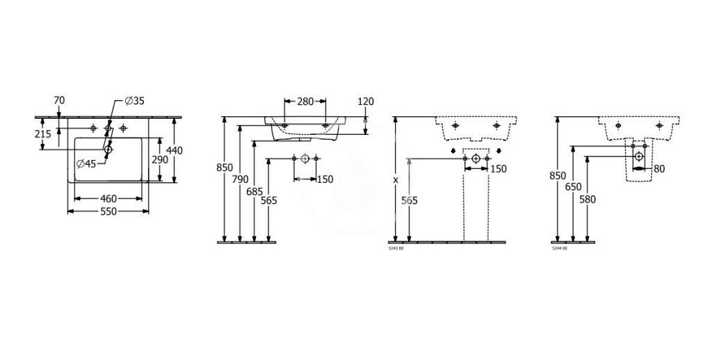 VILLEROY & BOCH - Subway 3.0 Umývadlo 550x440 mm, bez prepadu, otvor na batériu, CeramicPlus, alpská biela (4A7056R1)