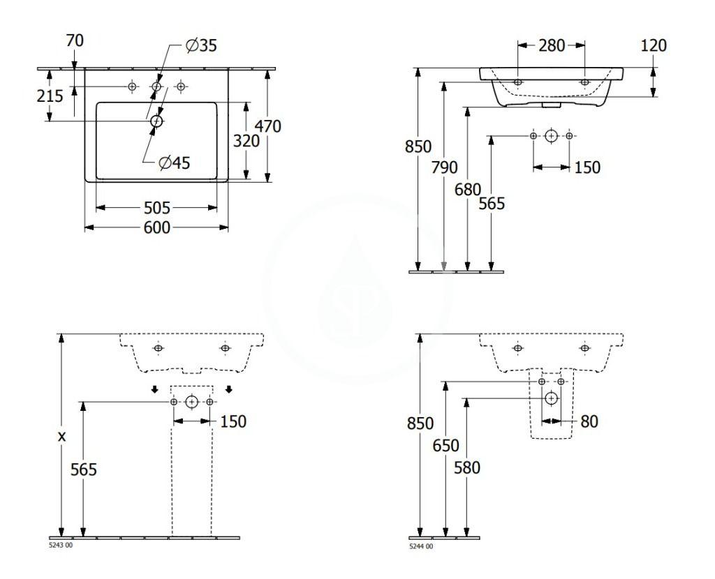 VILLEROY & BOCH - Subway 3.0 Umývadlo 600x470 mm, s prepadom, otvor na batériu, alpská biela (4A706001)