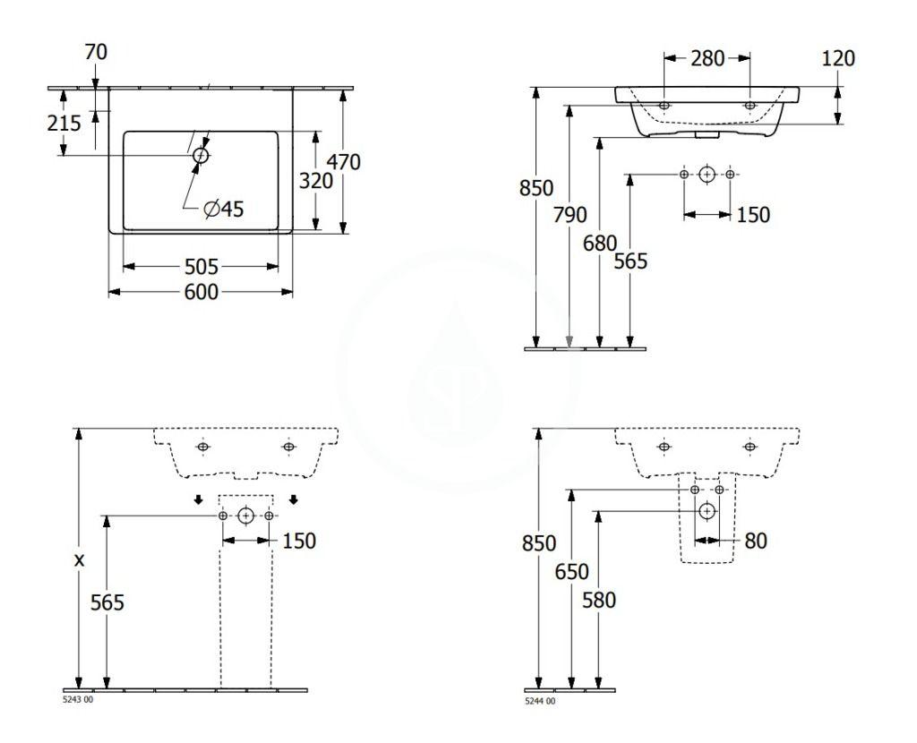 VILLEROY & BOCH - Subway 3.0 Umývadlo 600x470 mm, bez prepadu, bez otvoru na batériu, alpská biela (4A706301)