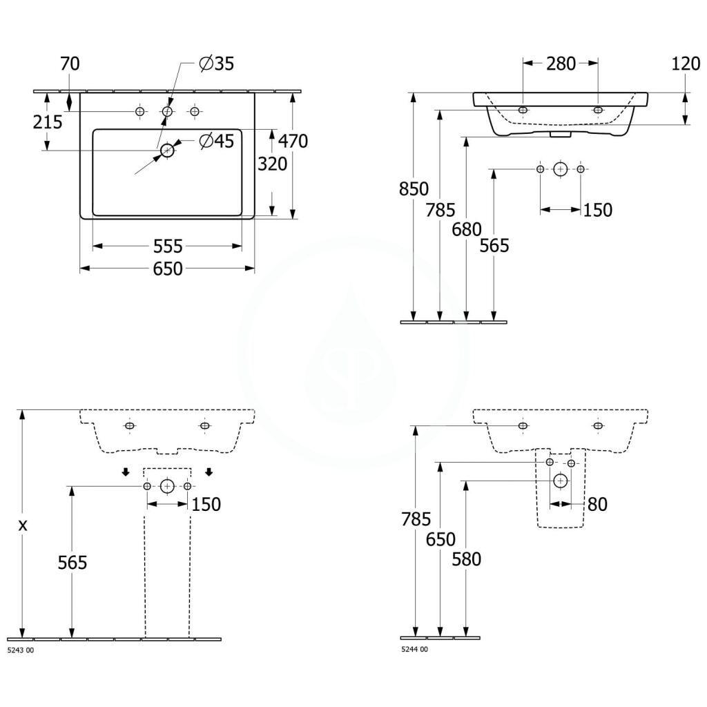 VILLEROY & BOCH - Subway 3.0 Umývadlo 650x470 mm, s prepadom, otvor na batériu, CeramicPlus, alpská biela (4A7065R1)