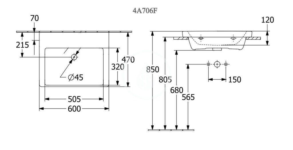 VILLEROY & BOCH - Subway 3.0 Umývadlo nábytkové 600x470 mm, bez prepadu, bez otvoru na batériu, alpská biela (4A706F01)
