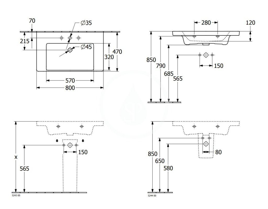 VILLEROY & BOCH - Subway 3.0 Umývadlo 800x470 mm, bez prepadu, otvor na batériu, CeramicPlus, alpská biela (4A7081R1)