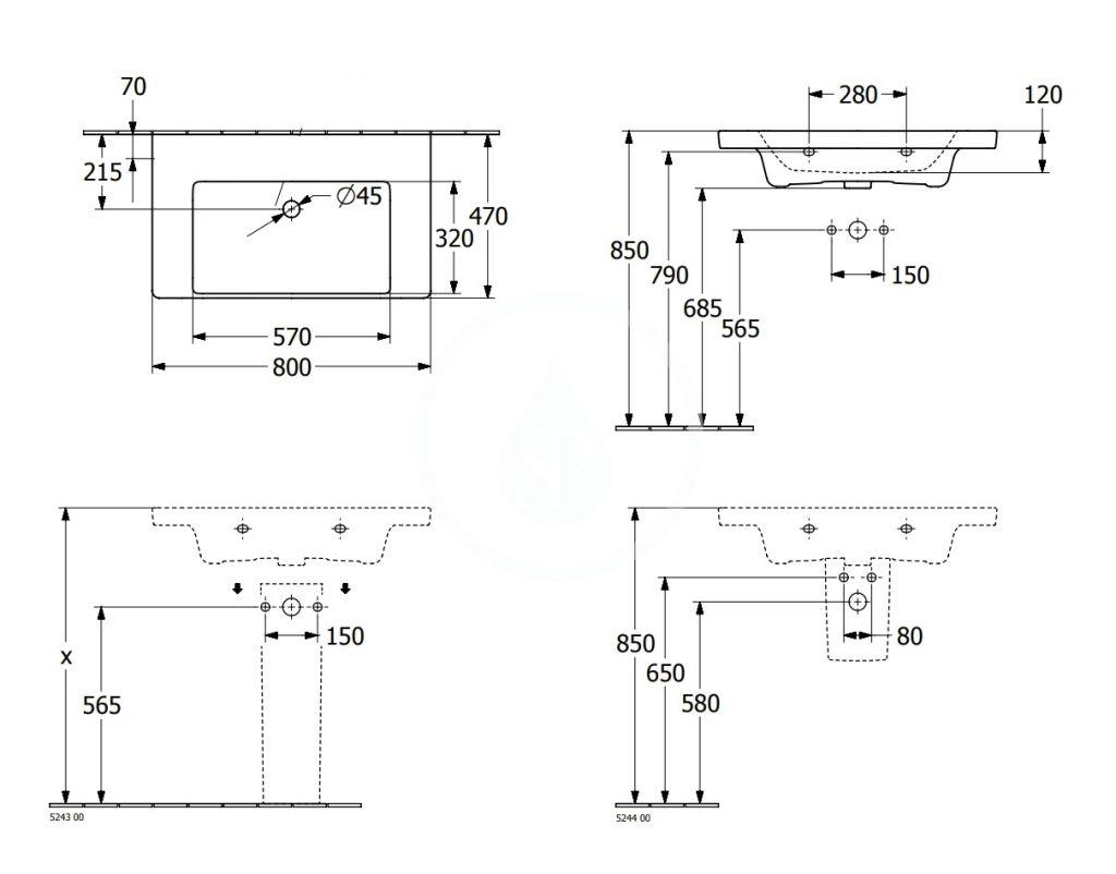 VILLEROY & BOCH - Subway 3.0 Umývadlo 800x470 mm, bez prepadu, bez otvoru na batériu, alpská biela (4A708301)