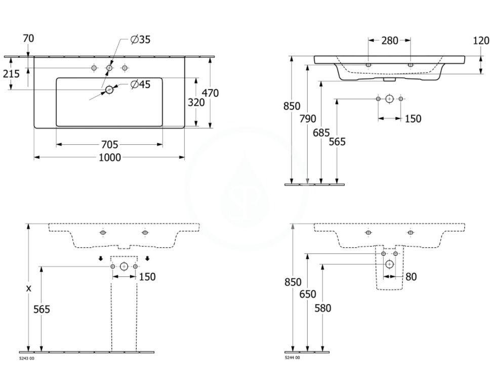 VILLEROY & BOCH - Subway 3.0 Umývadlo 1000x470 mm, bez prepadu, otvor na batériu, alpská biela (4A70A201)