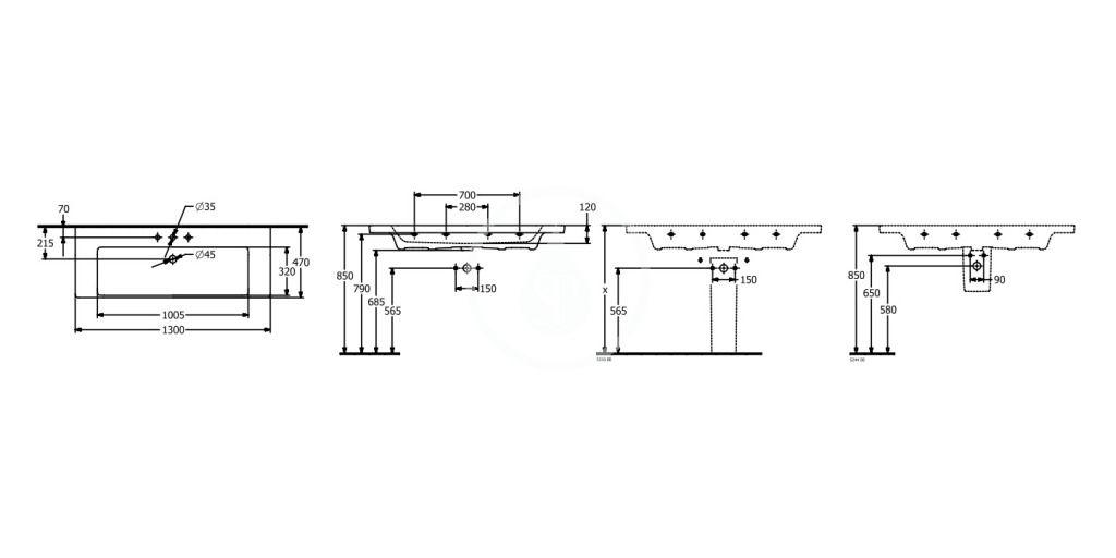 VILLEROY & BOCH - Subway 3.0 Umývadlo 1300x470 mm, bez prepadu, otvor na batériu, alpská biela (4A70D201)